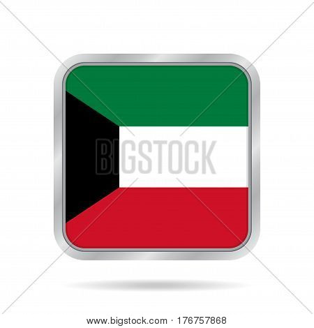 National flag of Kuwait. Shiny metallic gray square button with shadow.