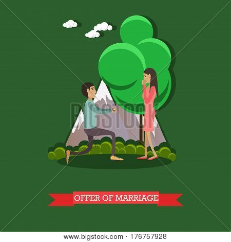 Vector illustration of young man getting down on one knee and making a proposal to his girlfriend. Offer of marriage flat style design element.