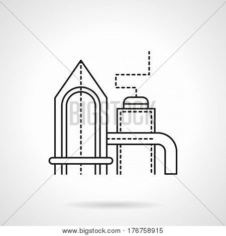 Oil refinery plant building. Petroleum industry symbol. Industrial architecture. Flat black line vector icon.