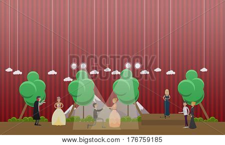 Vector illustration of performers staging Opera Dracula based on original novel by Bram Stoker. Flat style design.