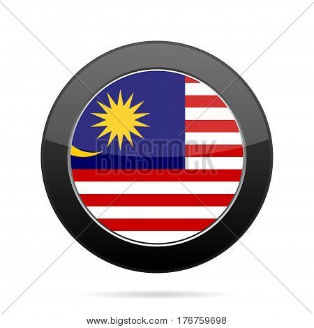 National flag of Malaysia. Shiny black round button with shadow.