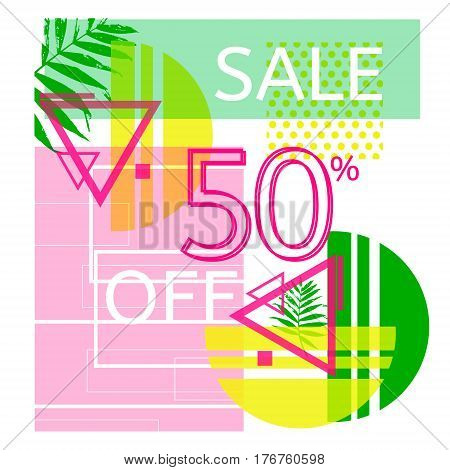 Universal tropic style commercial banner. Modern poster for sellout. Summer sale 2017 concept. Trendy hipster poster with palm leaves.