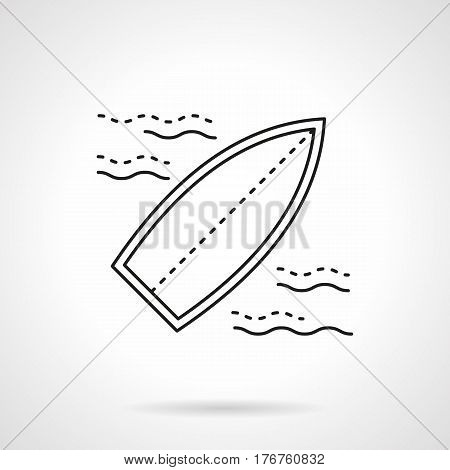 Blank surfboard on a small waves. Surfing symbol. Summer active leisure and extreme sport. Flat black line vector icon.