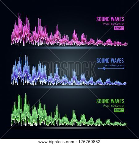 Music Sound Waves Pulse Abstract Vector. Synthesis And Electronic Sound Hearing. Abstract Technology For Creating Tunes