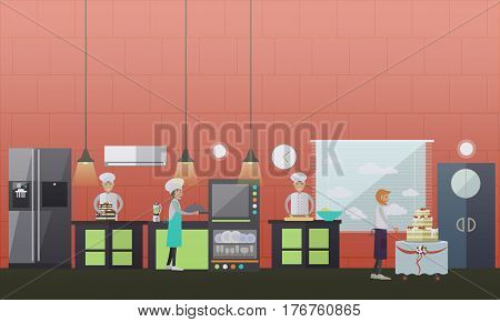 Vector illustration of confectioners rolling the dough, putting dough into oven, decorating ready cake. Waiter getting big cake with three tiers to serve it to customer. Pastry store flat style design