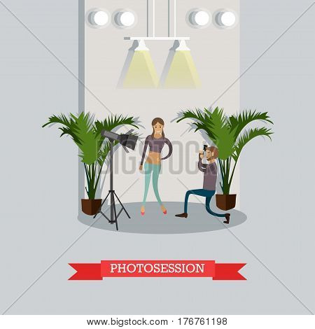 Vector illustration of fashion model posing before camera. Fashion photographer, photosession concept design element in flat style.
