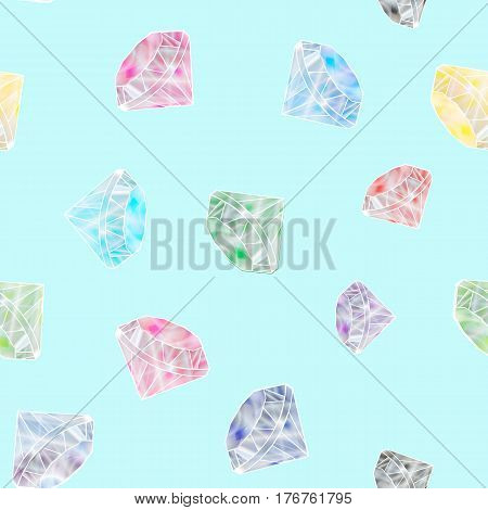 Seamless Pattern With Colorful Scattered Precious Gems From Different Cuts On White Background. Vect