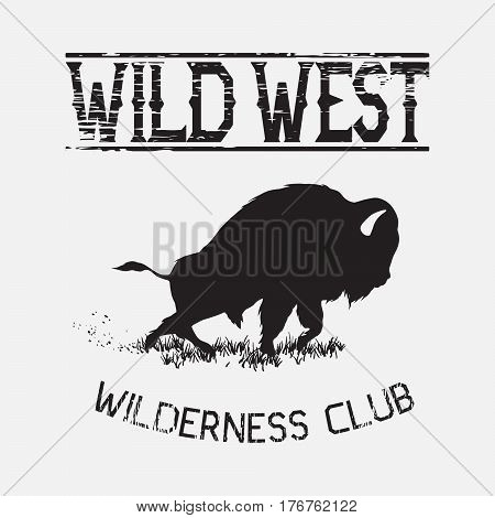 buffalo attack silhouette.On white background.Wild west vector prints design for t-shirts