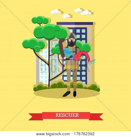 Vector illustration of fireman in protective clothing, helmet and mask carried out girl from burning house. Rescuer flat style design element.