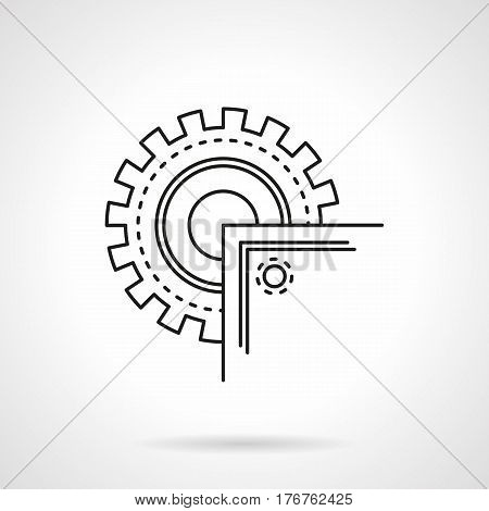 Metal processing tools and equipment. Abstract symbol of circular saw machine with blade. Flat black line vector icon.