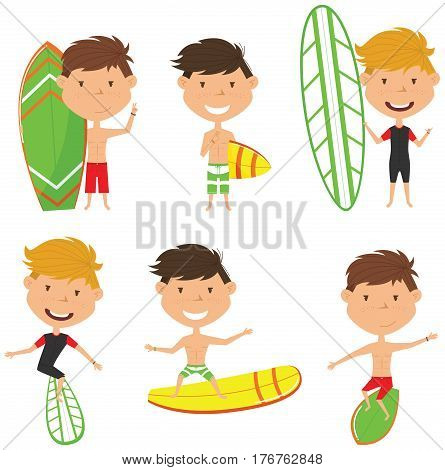 Surfing male characters vector set. Handsome boys with surface board. Summer beach man activities. Cute young surfers isolated on white background.