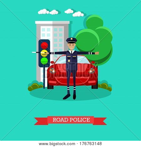 Vector illustration of policeman with baton regulating street traffic. Road police concept design element in flat style.