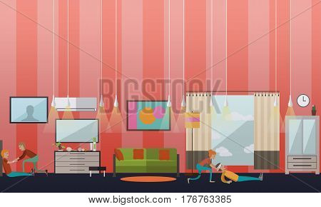 Vector illustration of home people putting a dressing. Head and hand injuries. First aid at home, bandage design elements in flat style.
