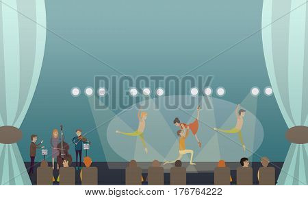 Vector illustration of dancing ballet performance. Ballet dancers males and female with musicians performing on stage flat style design.