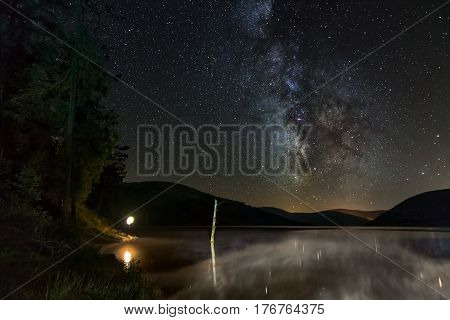 Milky way galaxy over the a tranquil lake in western Australia