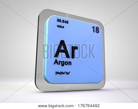 Argon - Ar - chemical element periodic table 3d render