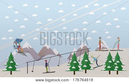 Vector illustration of ski lifts, chairlift and rope tow, bringing skiers up the slope. Downhill skiing, ski resort. Ski lift service flat style design elements.