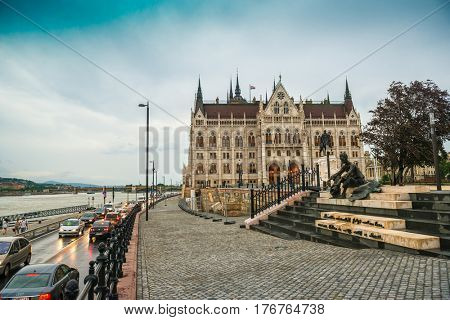 BUDAPESHT, HUNGARY- JULY 08: Old and pretty cobbled street leading to the legislative house on july 08, 2015 in Hungary