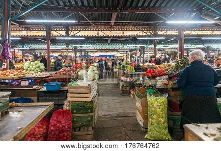 KUTAISI, GEORGIA, NOVEMBER, 05: Wide varitety of fruits and vegetables in Kutaisi, Georgia, local marketplace with farmers on nowember, 05, 2016 in Georgia