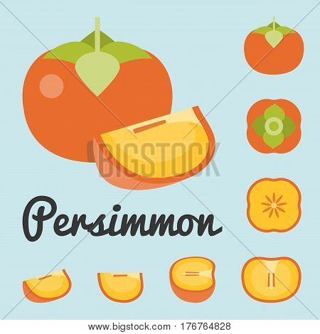 Vector Persimmon,  Half and slice persimmon vector set, flat design