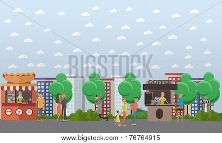 Vector illustration of detective looking out for someone, observing secretly and taking photos. Shadowing flat style design element.