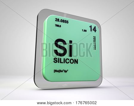 silicon - Si - chemical element periodic table 3d render