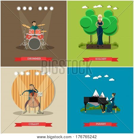 Vector set of singers and musicians posters. Drummer, Soloist, Cellist and Pianist flat style design elements.