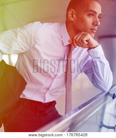 Photo Gradient Style with Businessmen African American Posing Thinking