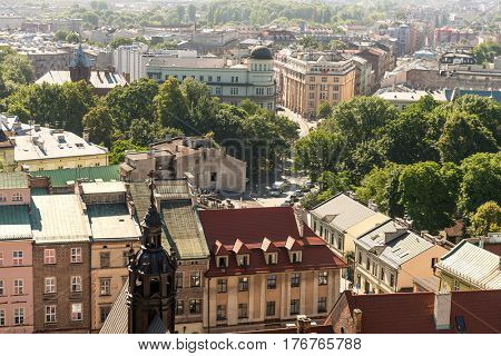 POLAND, KRAKOW- JULY 03: Houses and the green areas beautiful and diverse buildings, aerial in Krakow Poland on July 03, 2015