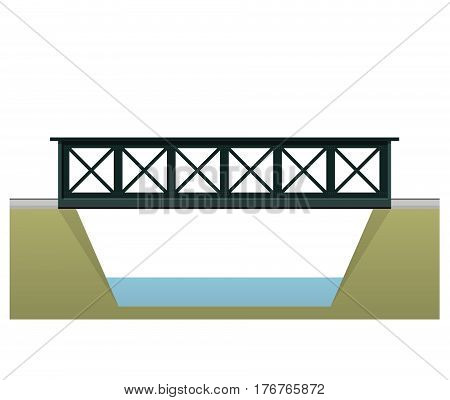 Vector train bridge in 2d side view and isolated on white background. Industrial transportation building. Metallic bridge architecture. Railway bridge with rail. Assembled riveted bridge construction.