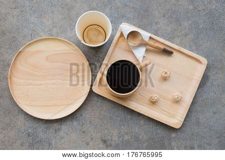 Utensils made of wood flat lay eating breakfast concept