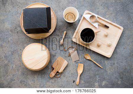 wooden utensils flat lay eating breakfast concept