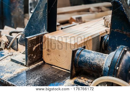 Circular Saw. Carpenter Using Circular Saw For Wood