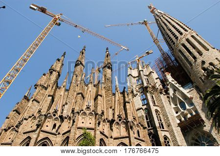 La Sagrada Familia - The Cathedral Designed By Gaudi In Barcelona