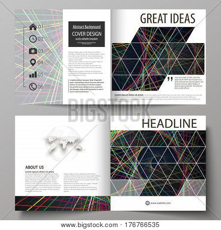 Business templates for square design bi fold brochure, magazine, flyer, booklet or annual report. Leaflet cover, abstract flat layout, easy editable vector. Bright color lines, colorful beautiful background. Perfect decoration.