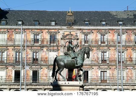 Madrid, Spain - 6 January 2009: Architecture of the Plaza Mayor on Madrid, Spain