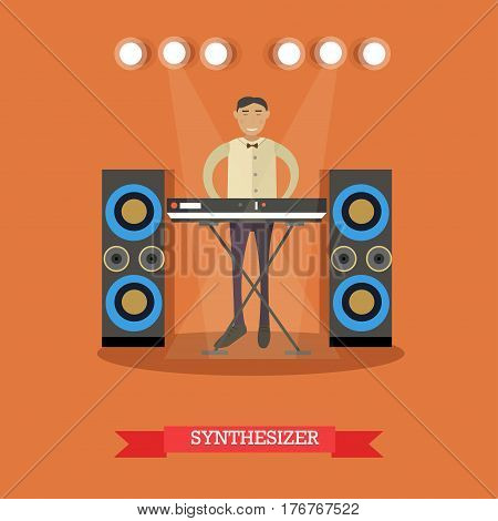 Vector illustration of young musician playing synthesizer. Pianist playing keyboard. Flat style design.