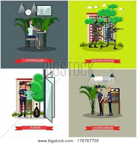 Vector set of catching thief concept posters. Controller, Special forces, Robber and Coffee break design elements in flat style.