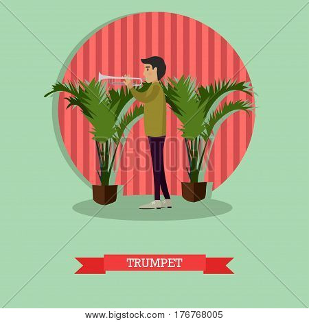 Vector illustration of trumpet player musician young man playing trumpet. Trumpeter flat style design element.