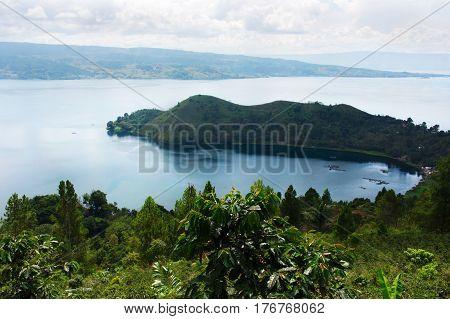 High panoramic view of the green bay at Samosir in Sumatra Indonesia