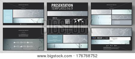 Business templates in HD format for presentation slides. Easy editable abstract vector layouts in flat design. Chemistry pattern, connecting lines and dots, molecule structure, scientific medical DNA research.