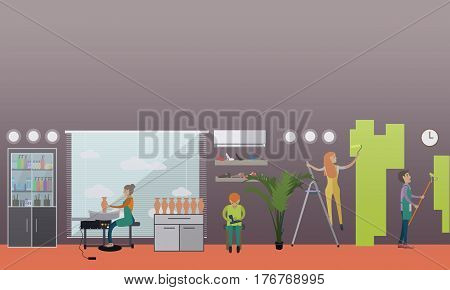 Vector illustration of arts and crafts professionals. Ceramist, house painter and shoemaker design elements in flat style.