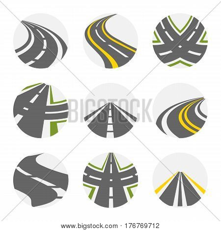 Curving Road Vector Set. Roads Logo Set In Grey Colour With Isolated Curvy Suburban Roads Images With Fork Turns