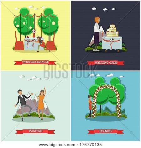 Vector set of wedding posters. Table decorations, Wedding cake, Dancing and scenery flat style design elements.
