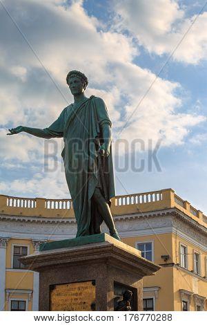 Monument of duke Richelieu on seaside boulevard in Odessa Ukraine