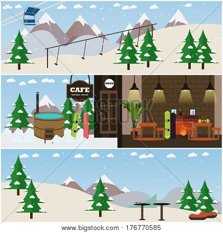 Vector set of winter fun interior posters, banners. Ski resort with cafe, ski slope, chairlift and rope tow, vat. Flat style design elements.