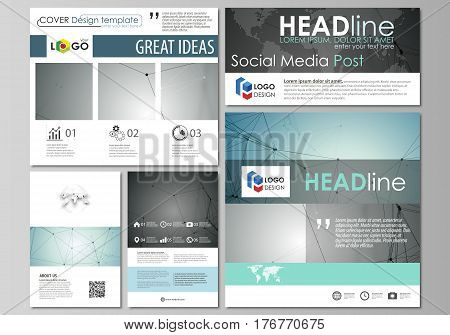 Social media posts set. Business templates. Easy editable abstract flat design template, vector layouts in popular formats. Geometric background, connected line and dots. Molecular structure. Scientific, medical, technology concept.