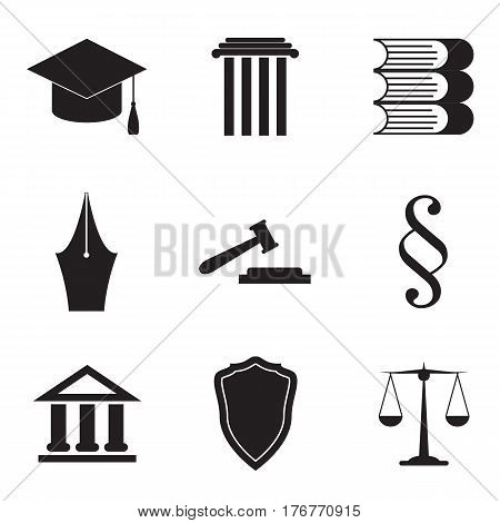 Set of black and white law and justice icons. Vector