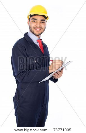 Young worker smiling - isolated on white