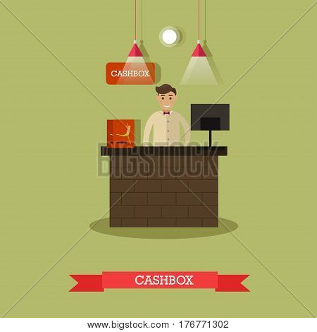 Vector illustration of ticket office and cashier. Theater box office flat style design.